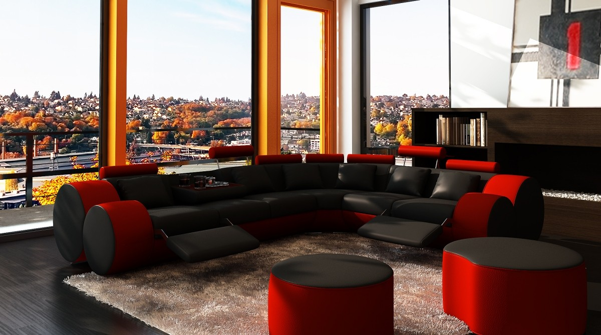 divani casa modern black and red bonded leather sectional sofa u0026 coffee table