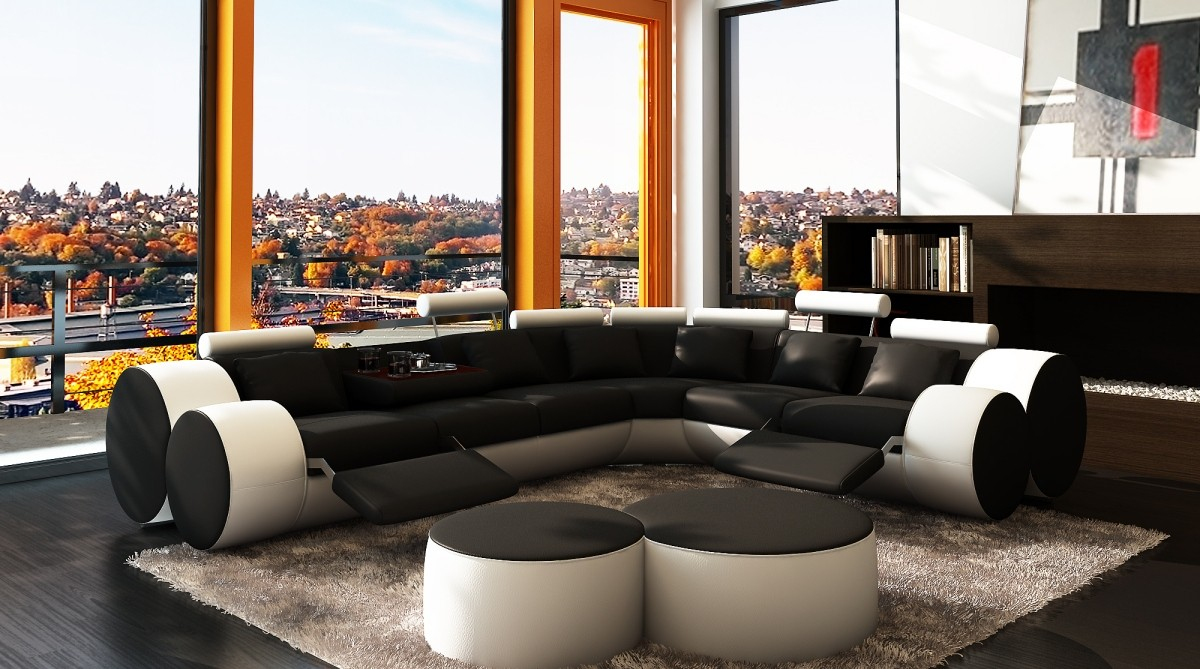 Divani Casa 3087 Modern Black And White Bonded Leather