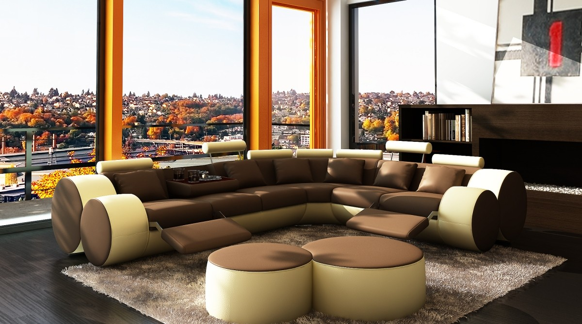 Divani Casa Modern Bonded Leather Sectional Sofa Coffee - What shape coffee table with sectional sofa