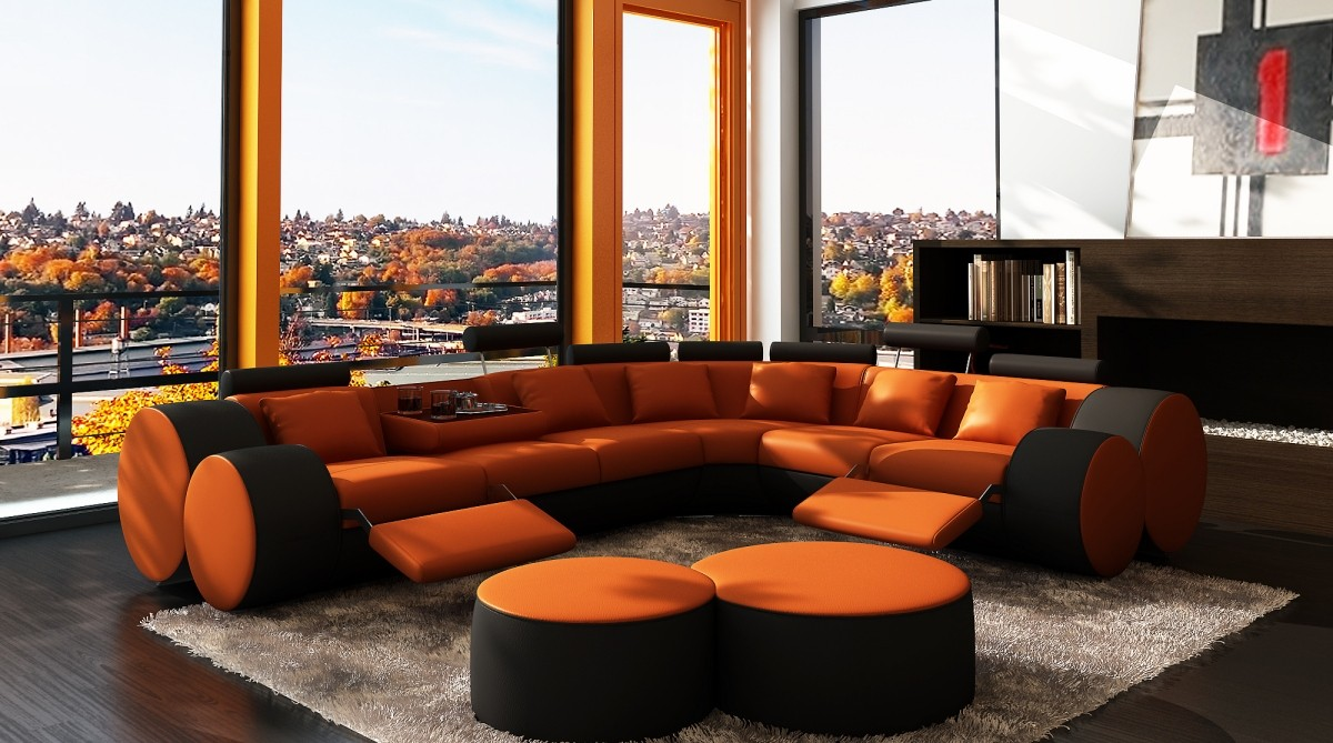 amazing orange white sofa living room furniture set | Divani Casa 3087 - Modern Orange and Black Bonded Leather ...