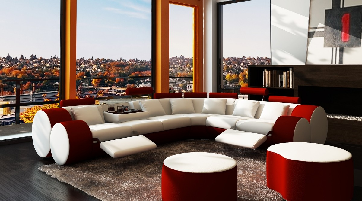Divani Casa 3087 Modern White And Red Bonded Leather Sectional Sofa Coffee Table