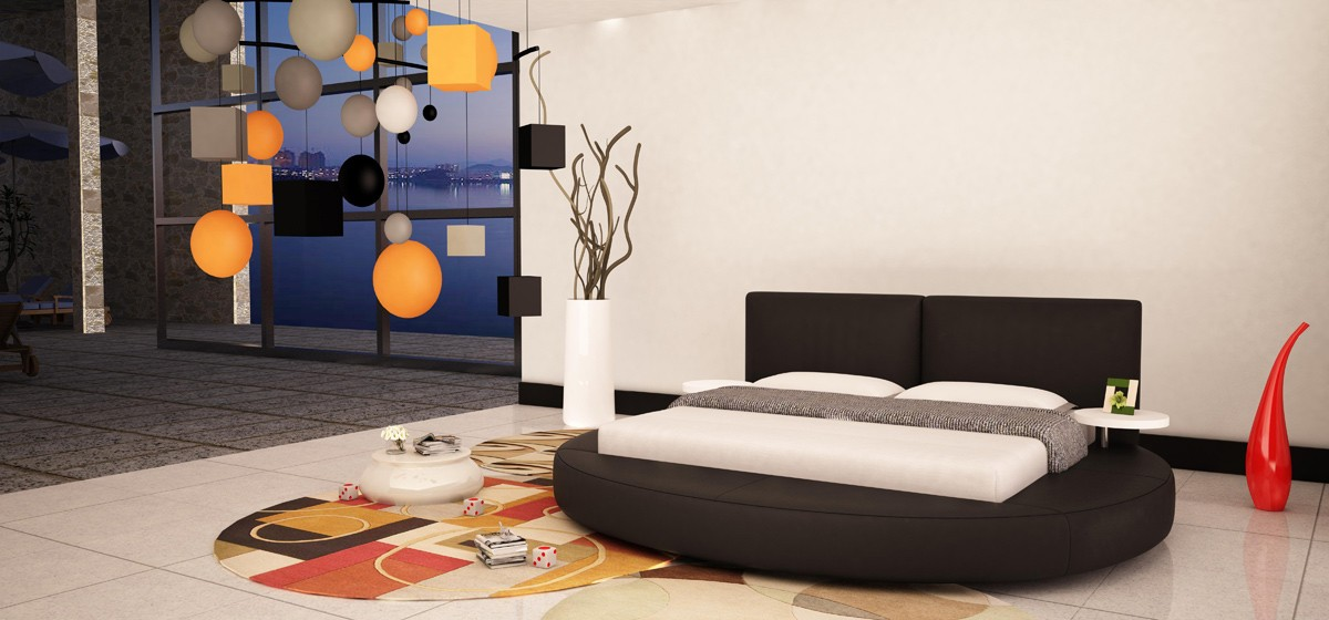 Atlas Modern Black Bonded Leather Round Bed - Black leather round bed