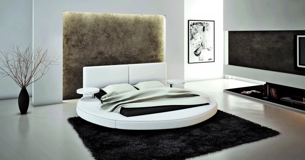Atlas Modern White Bonded Leather Round Bed - Black leather round bed