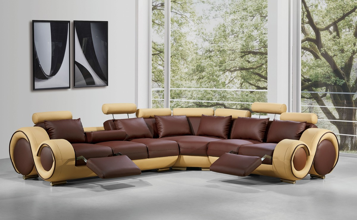 Divani casa 4087 modern bonded leather sectional sofa for Divani stoffa moderni