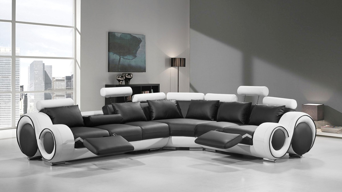 Divani Casa 4087 Modern Black and White Bonded Leather Sectional Sofa ... : modern white sectional sofa - Sectionals, Sofas & Couches