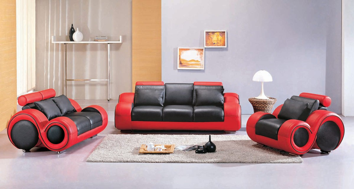 Divani Casa 4088 Contemporary Black And Red Leather Sofa Set