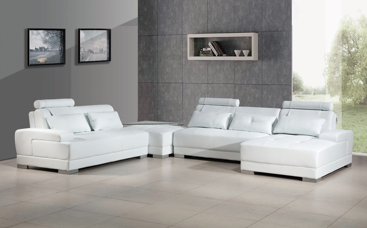 divani casa phantom modern white bonded leather sectional sofa w ottoman and glass end table