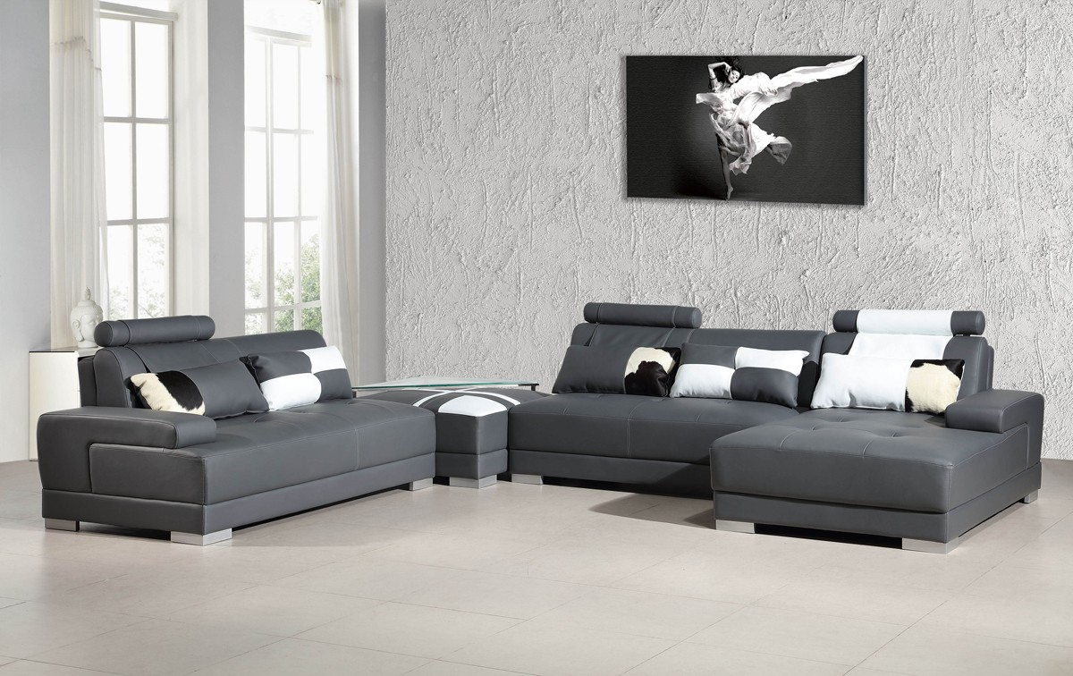 Divani casa phantom modern grey bonded leather sectional sofa w ottoman and glass end table - Wandspiegel groay modern ...