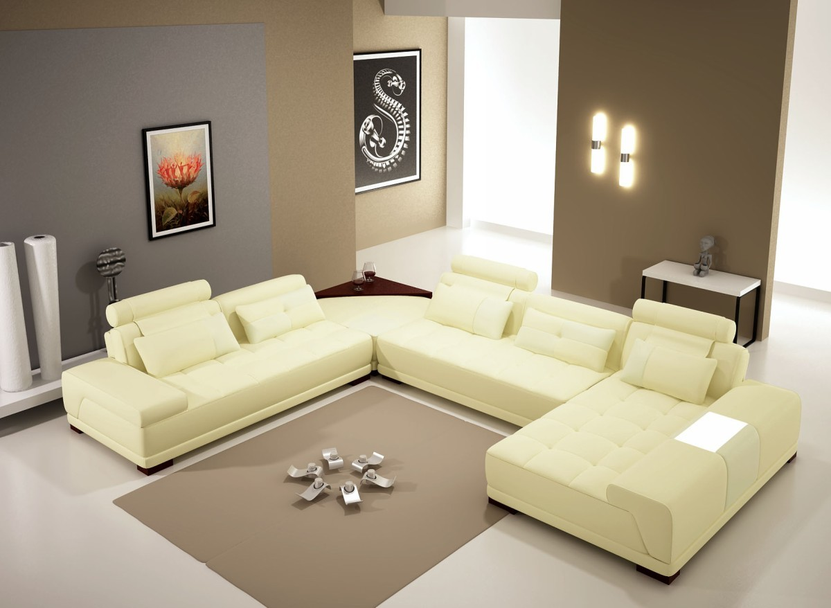 Divani Casa B Modern Bonded Leather Sectional Sofa W Ottoman - End table for sectional sofa