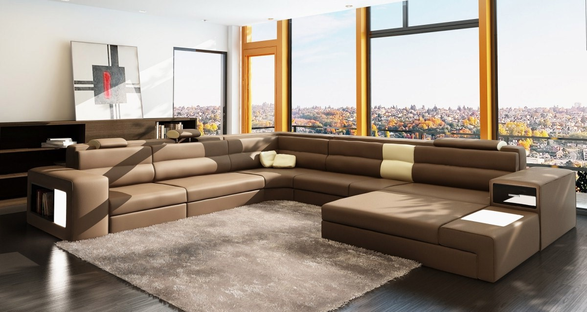 Divani casa polaris brown italian leather sectional sofa for Casa milano divani