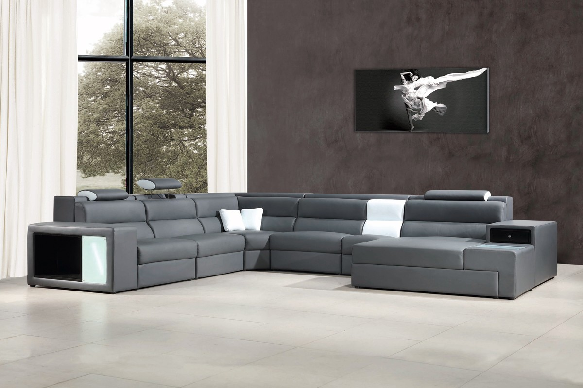 Divani casa polaris contemporary bonded leather sectional sofa with lights divani casa - Wandspiegel groay modern ...