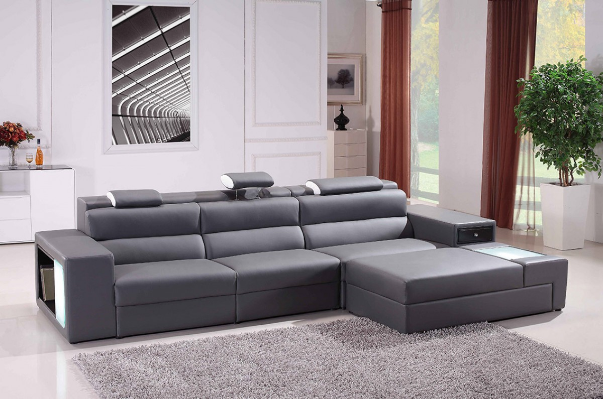Small Gray Leather Sectional Home Design Ideas