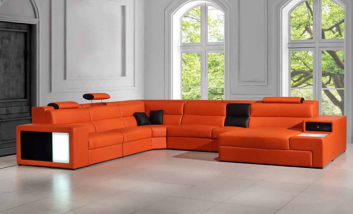Vig Furniture Polaris Orange Leather Sectional Sofa