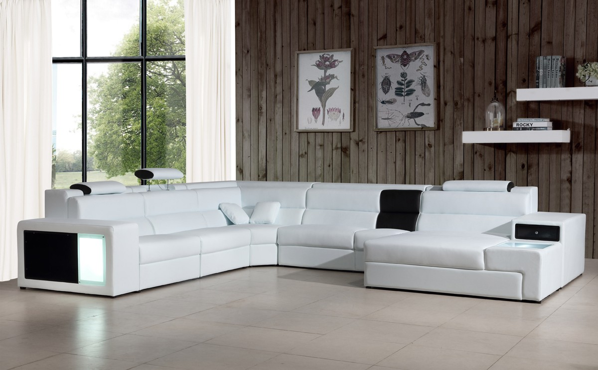Divani Casa Polaris Contemporary Leather Sectional Sofa