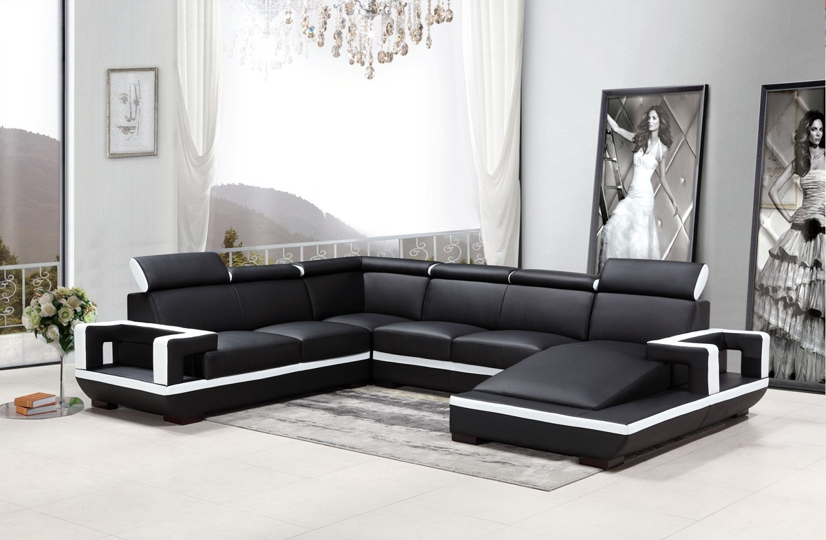 Casa 5102 Modern Black White Bonded Leather Sectional Sofa