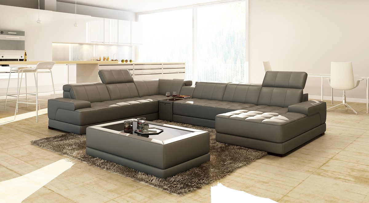 Divani casa 5105 modern bonded leather sectional sofa w for Casa milano divani