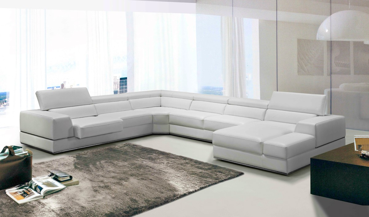 Divani Casa Pella Modern White Bonded Leather Sectional Sofa Sectionals Living Room
