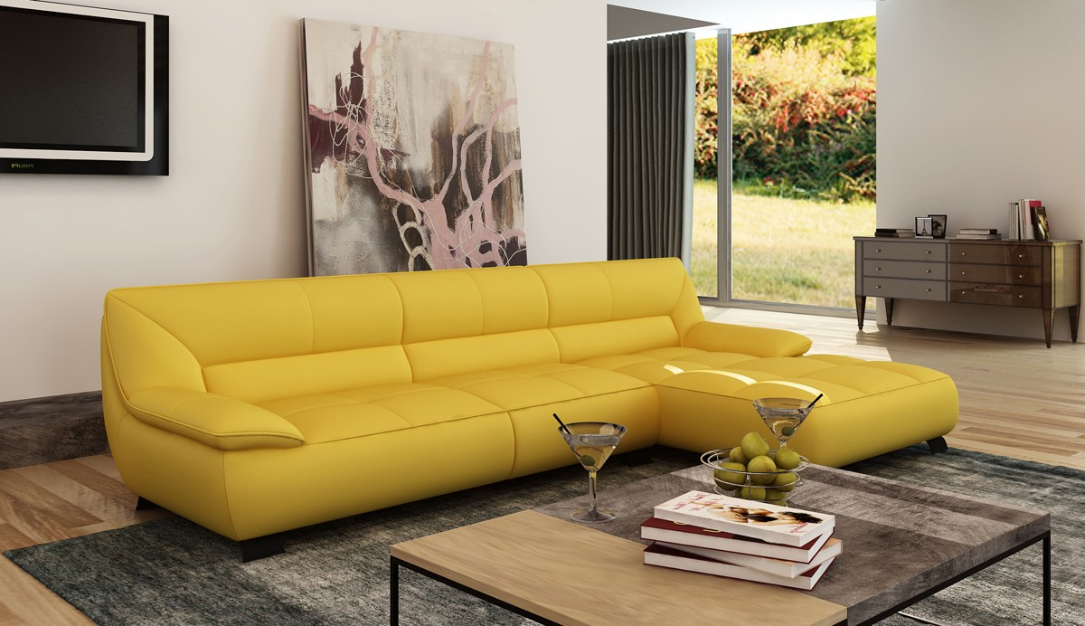 Divani Casa 5121b Modern Yellow Italian Leather Sectional Sofa