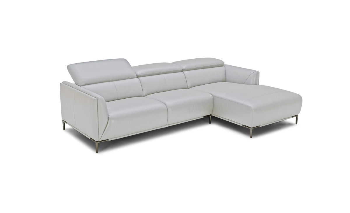 Picture of: Divani Casa Belfast Modern Grey Leather Sectional Sofa