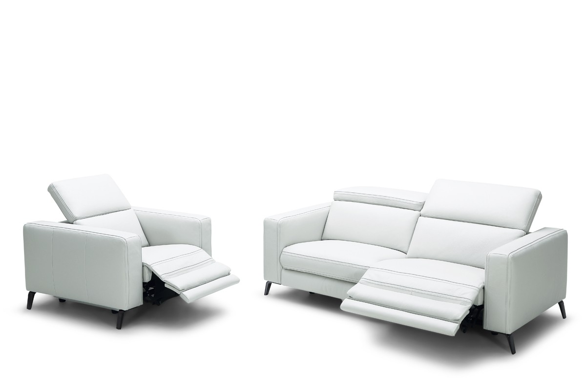 divani casa roslyn modern white leather sofa set w recliners reclining sofas recliners. Black Bedroom Furniture Sets. Home Design Ideas