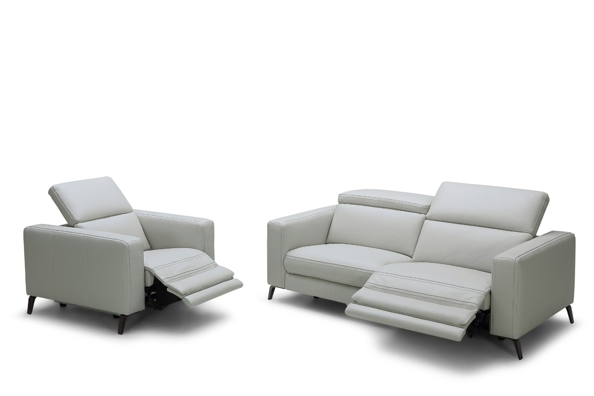 divani casa roslyn modern grey leather sofa set w recliners. Black Bedroom Furniture Sets. Home Design Ideas