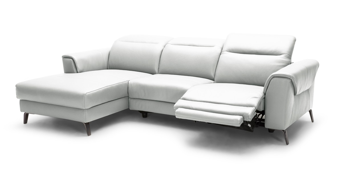 Divani Casa Mosley Modern White Leather Sectional Sofa w/ Recliner ...