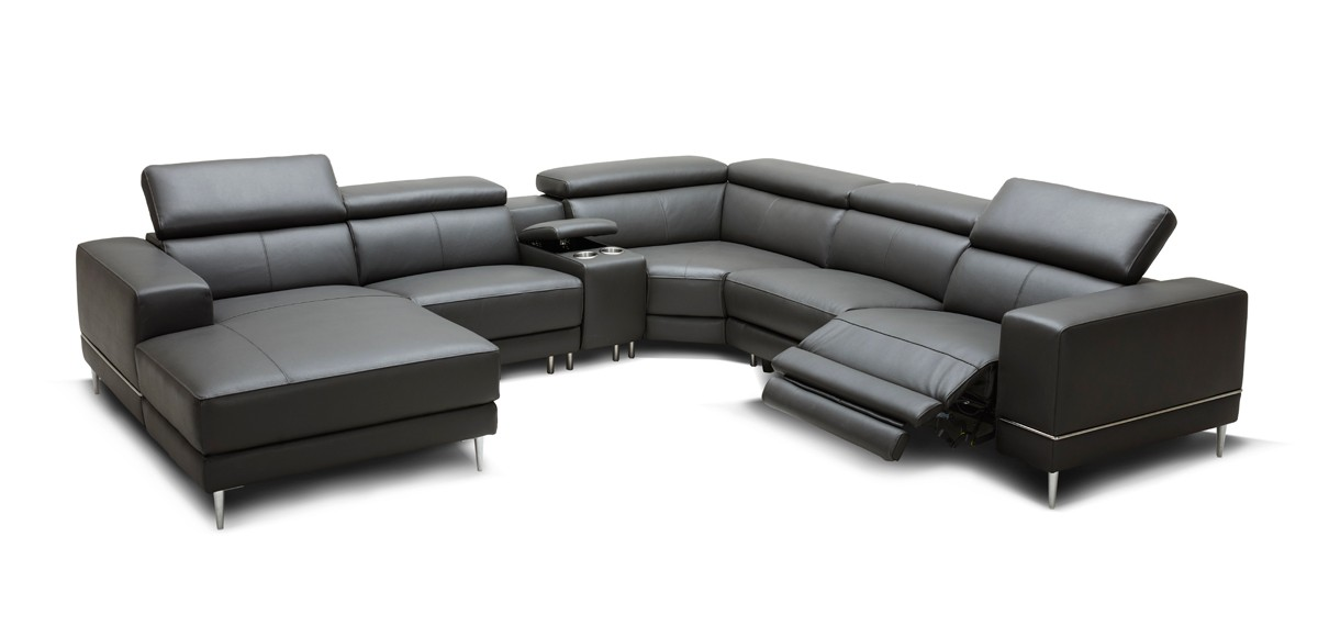 Divani Casa Wade Modern Dark Grey Leather Sectional Sofa W 2 Electric Recliners And Console