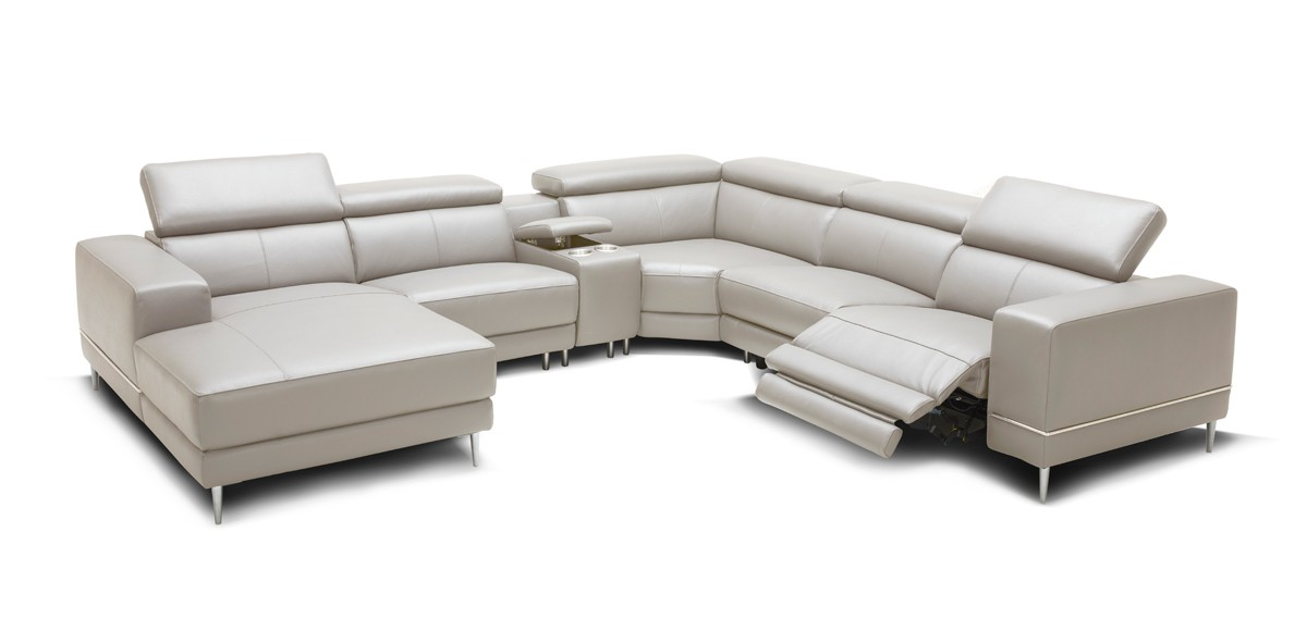 Picture of: Divani Casa Wade Modern Light Grey Leather Sectional Sofa W 2 Electric Recliners And Console Reclining Sofas Recliners Living Room
