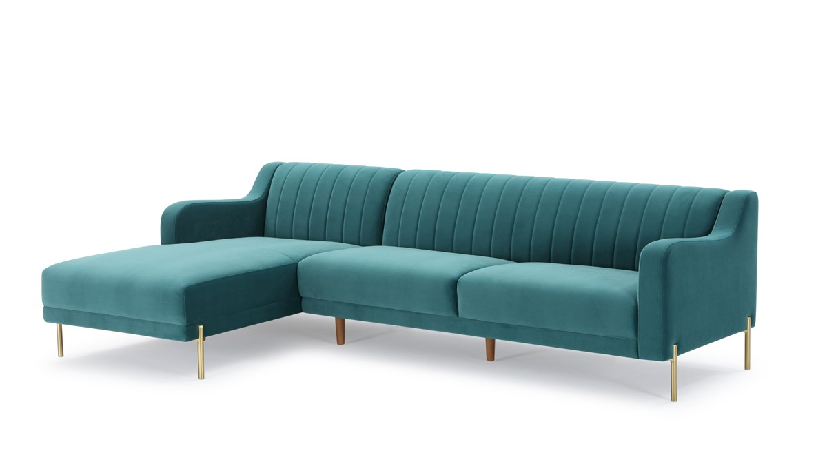 Divani casa flow modern teal velvet sectional sofa w left facing chaise