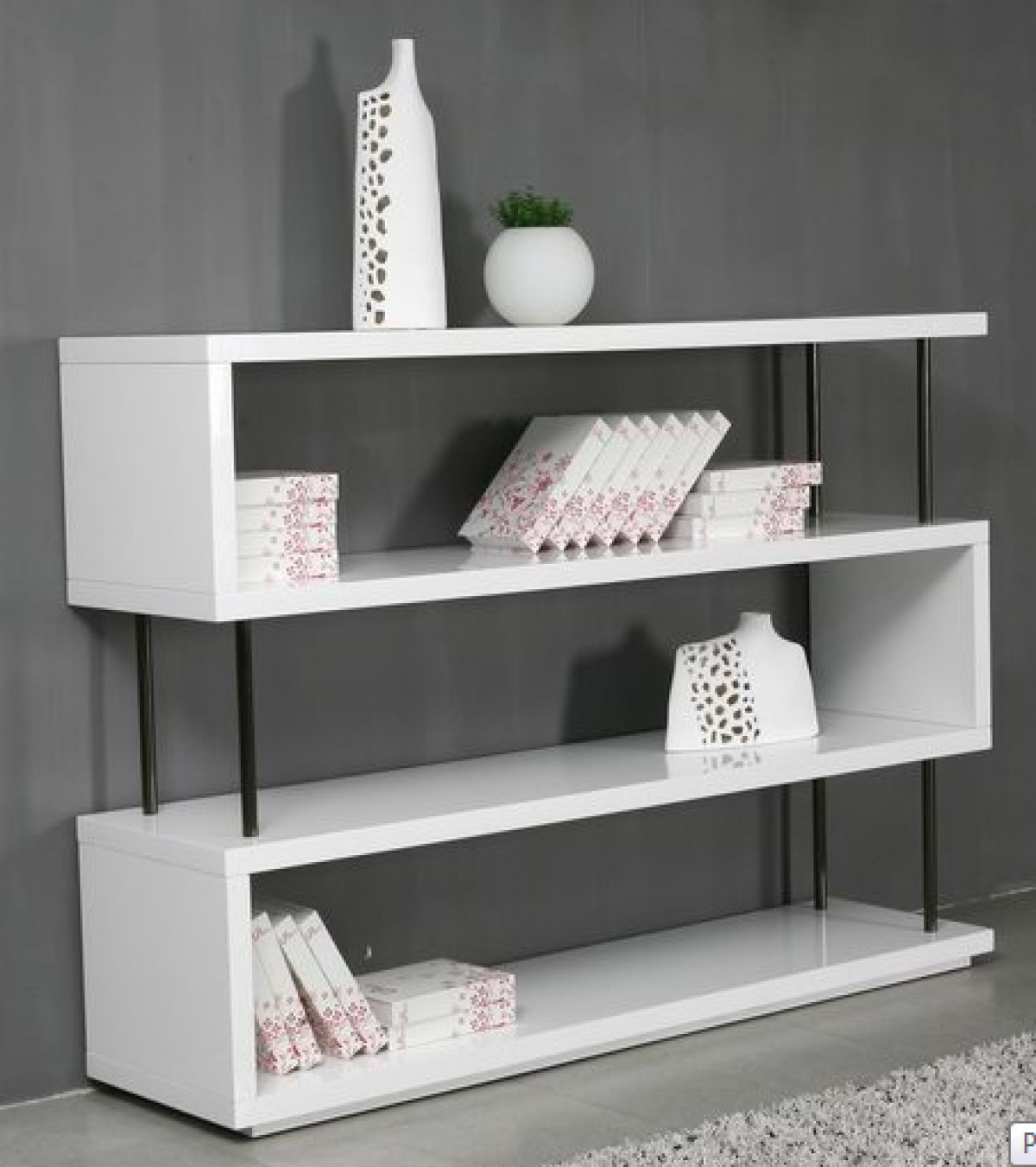 Modrest Stage3 White Wall Unit Bookcases Living Room