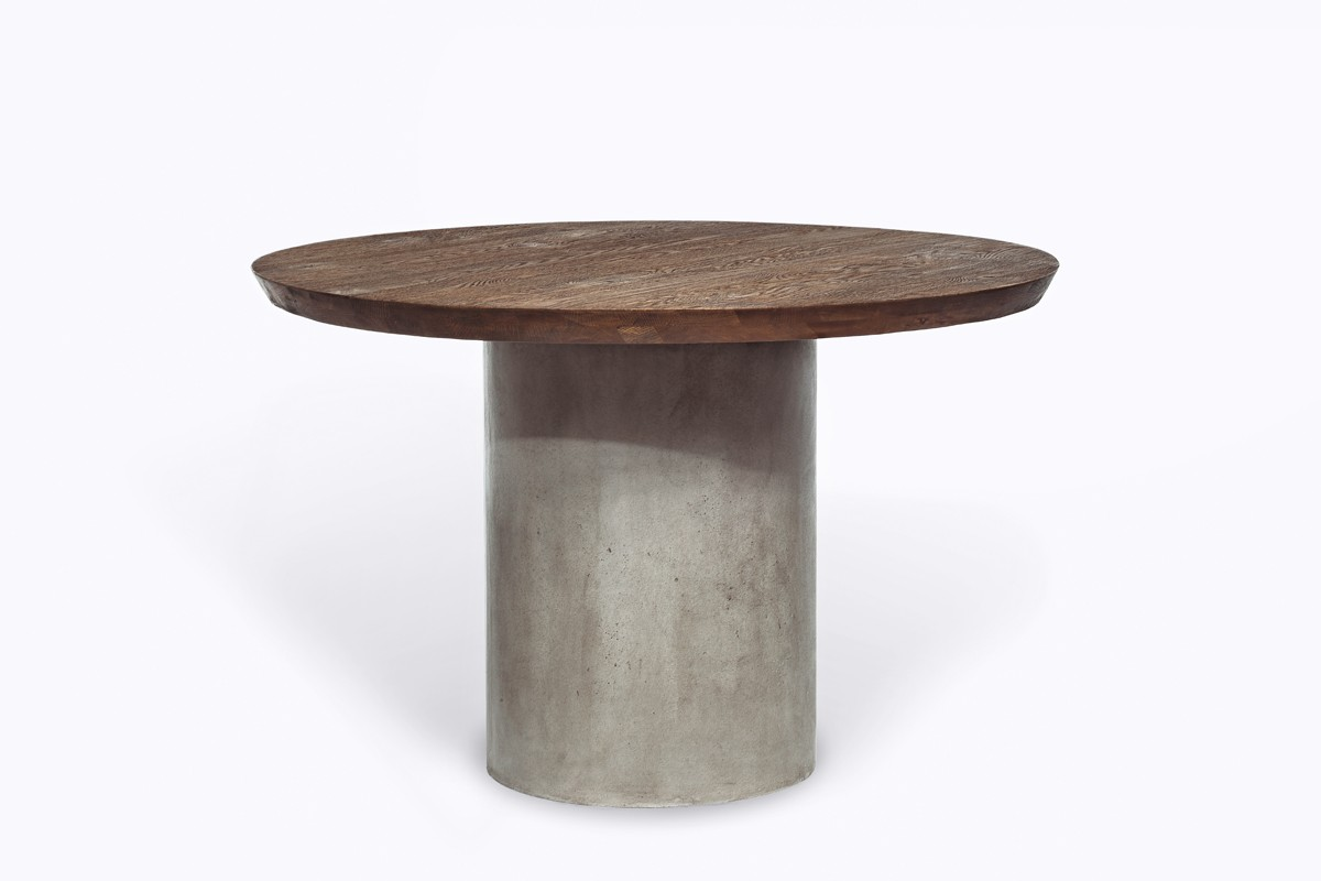 Modrest Renzo Modern Round Oak & Concrete Dining Table