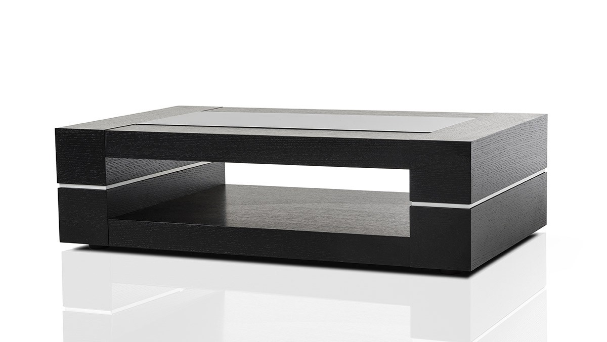 black modern coffee table Modrest Mesa   Modern Black Oak Coffee Table black modern coffee table