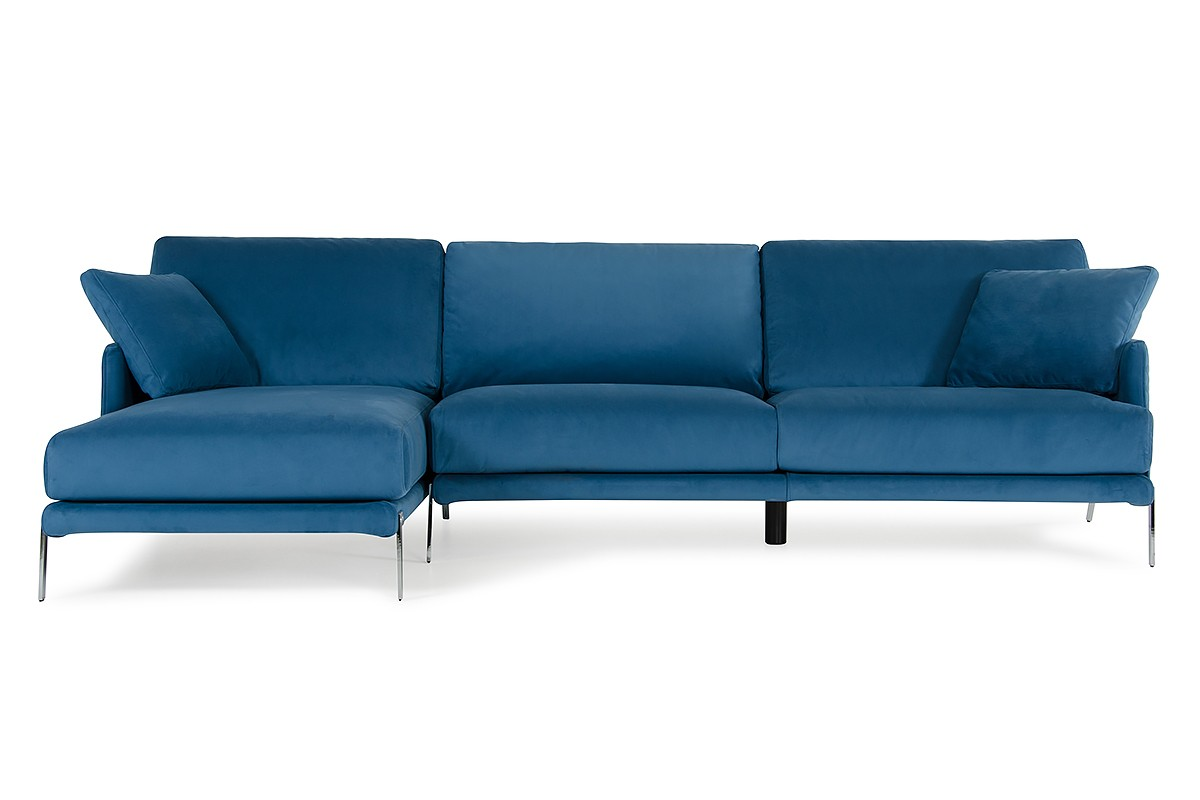 David Ferrari Achen Modern Blue Velvet Fabric Sectional Sofa ...