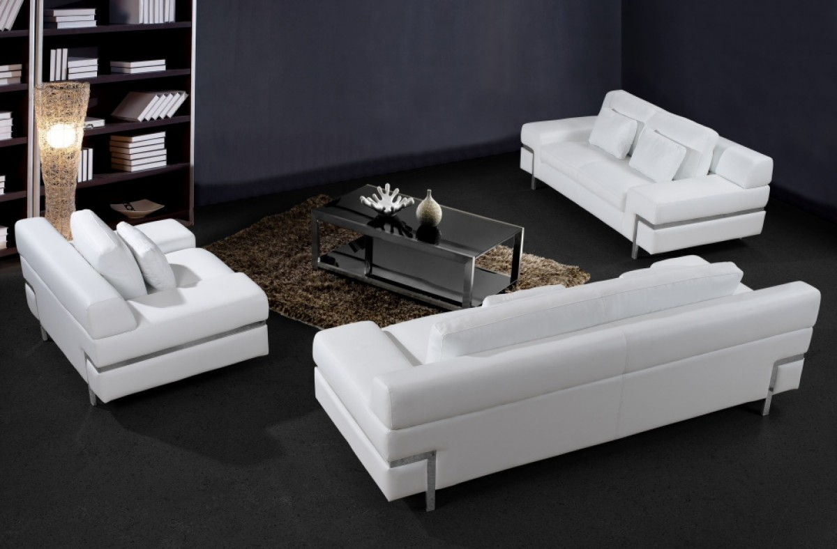 Divani casa clef modern white leather sofa set for White divan chair
