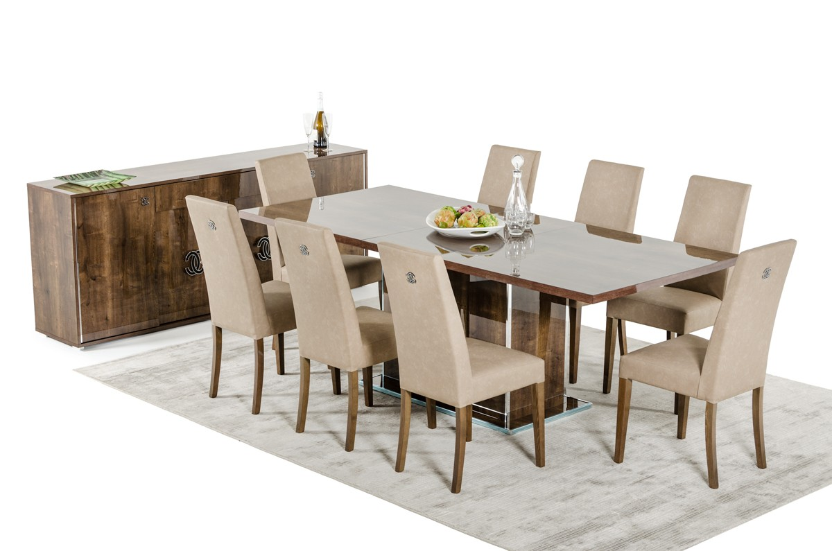 Modrest athen italian modern dining set for Contemporary furniture dining chairs