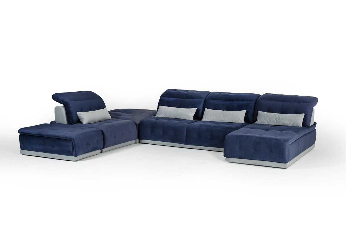 David Ferrari Daiquiri Italian Modern Blue Grey Modular Sectional Sofa