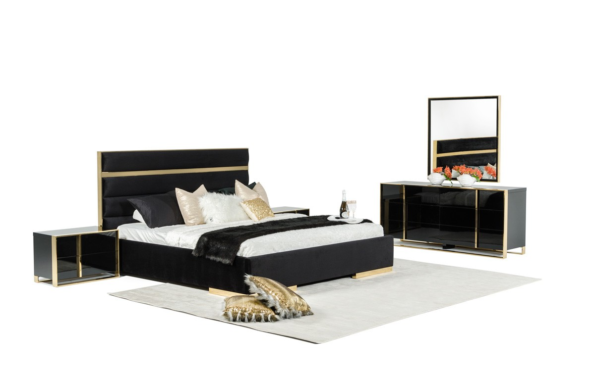 Nova Domus Montblanc Modern Black Amp Gold Bedroom Set