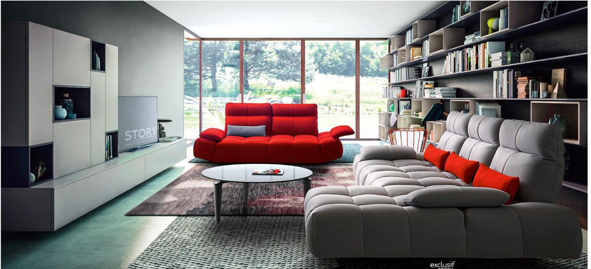 David Ferrari Baloon Modern Grey & Red Fabric Sectional ...
