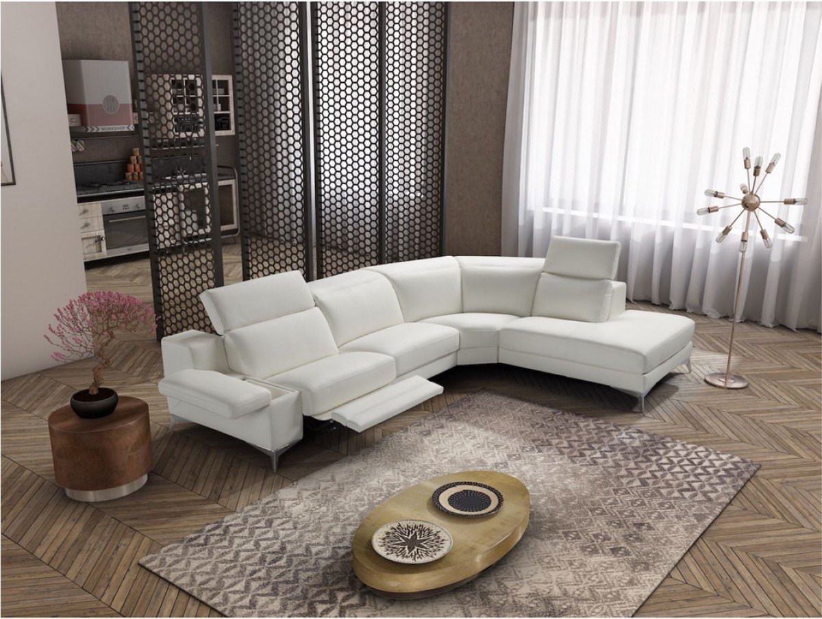 Estro salotti hypnose italian modern white leather sectional sofa w recliner