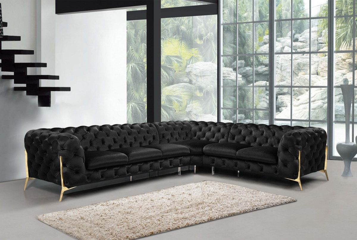 Divani Casa Sheila Modern Black Velvet Sectional Sofa Sectionals Living Room