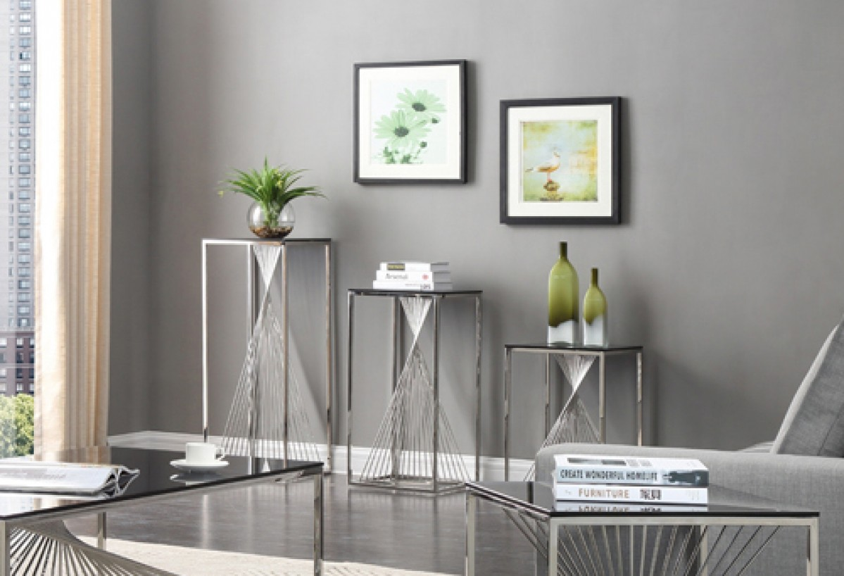 Piece glass stainless steel end table set end tables living