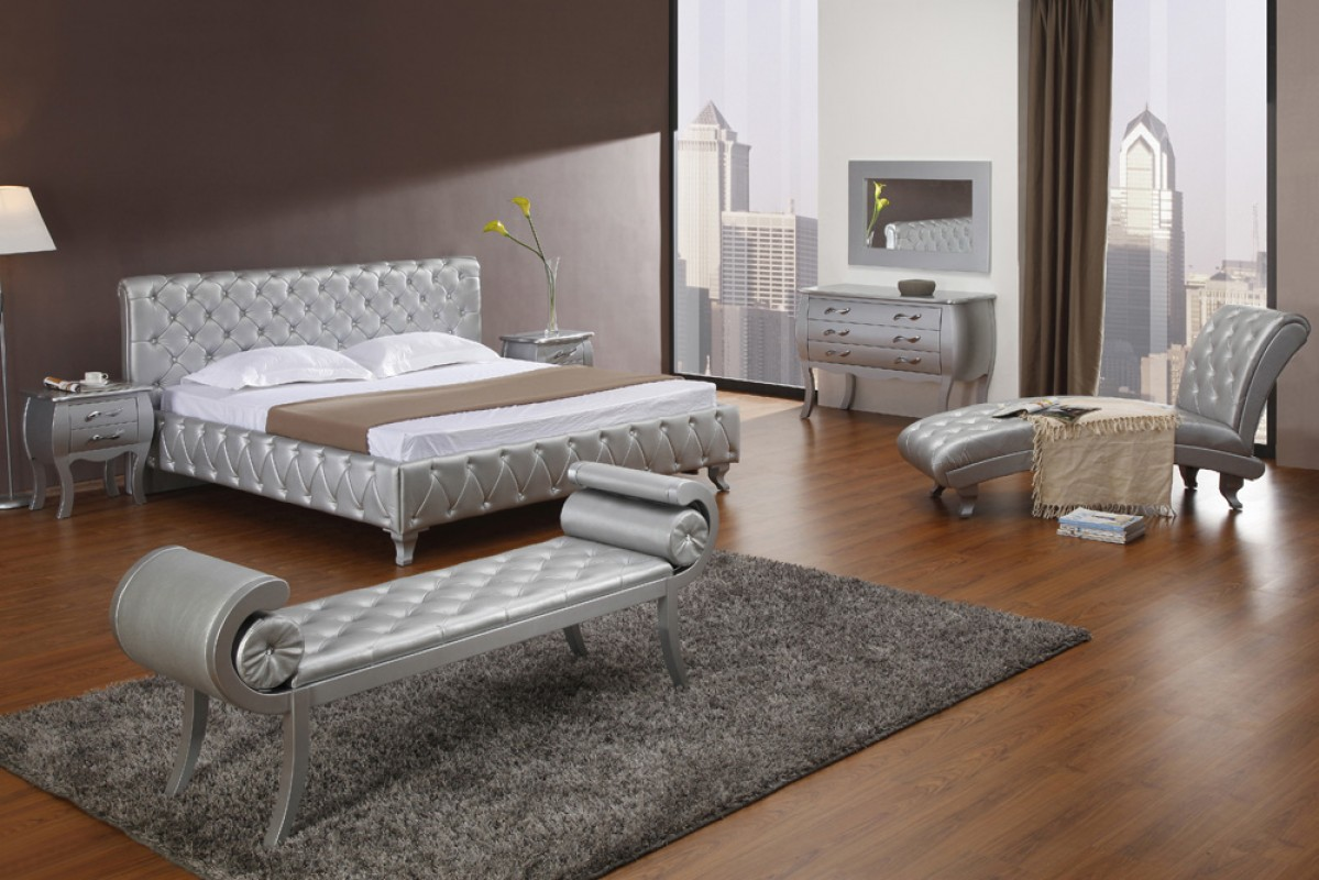 monte carlo bedroom set. Modrest Monte Carlo Platinum Edition Silver Modern Bed with Crystals  CarloWhite Leatherette
