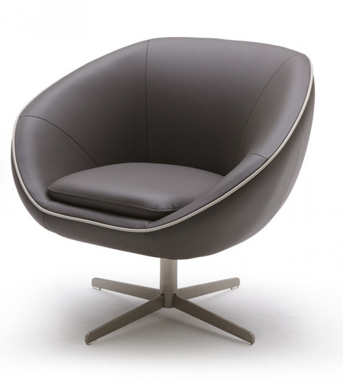 Divani casa willow modern leather swivel lounge chair for Modern leather club chair