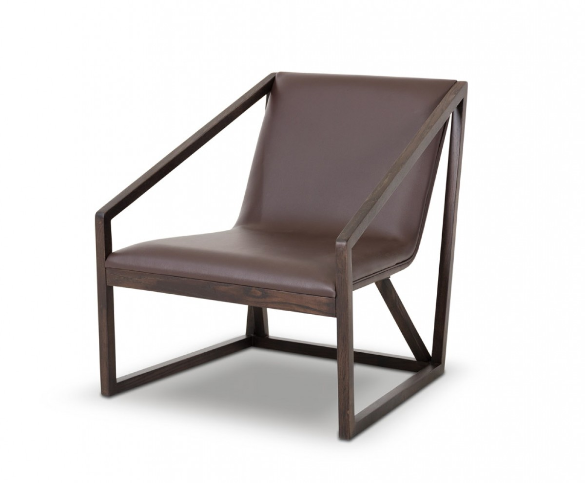 Divani casa taranto modern brown eco leather lounge chair for Modern leather club chair