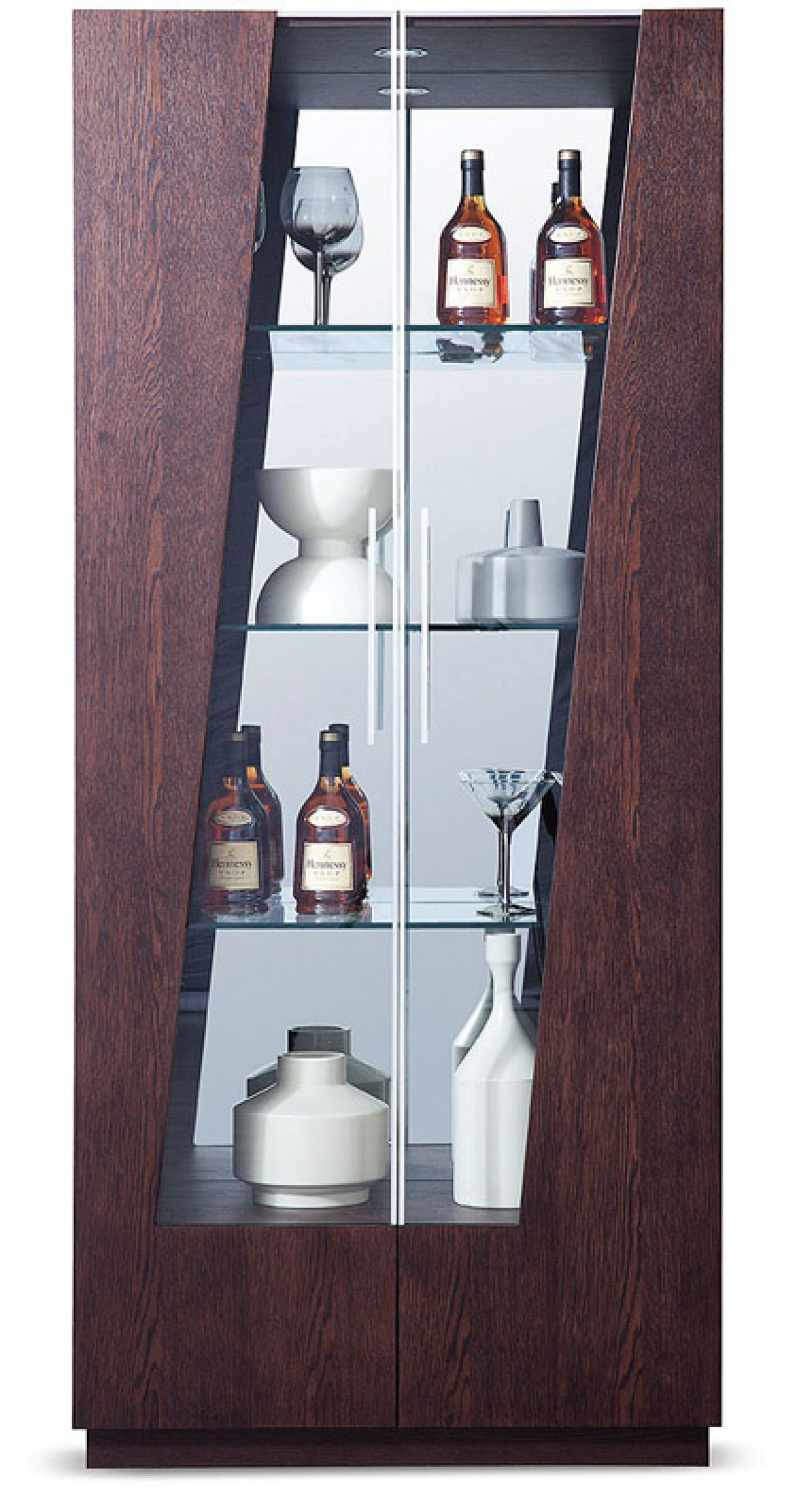 Modrest Prizma - Modern Wenge and Glass Dining Display Cabinet ...