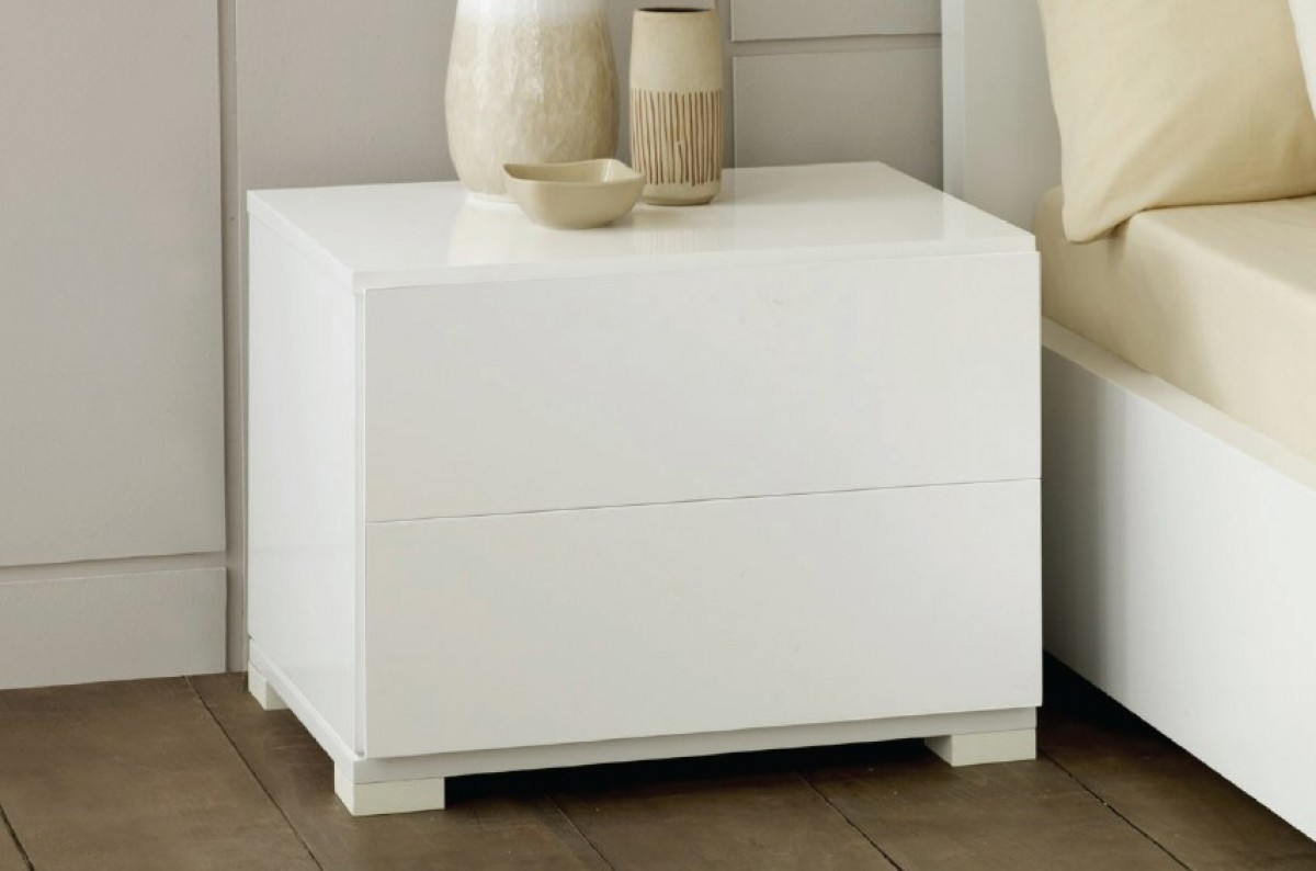 roma  modern white lacquer nightstand - modrest roma  modern white lacquer nightstand