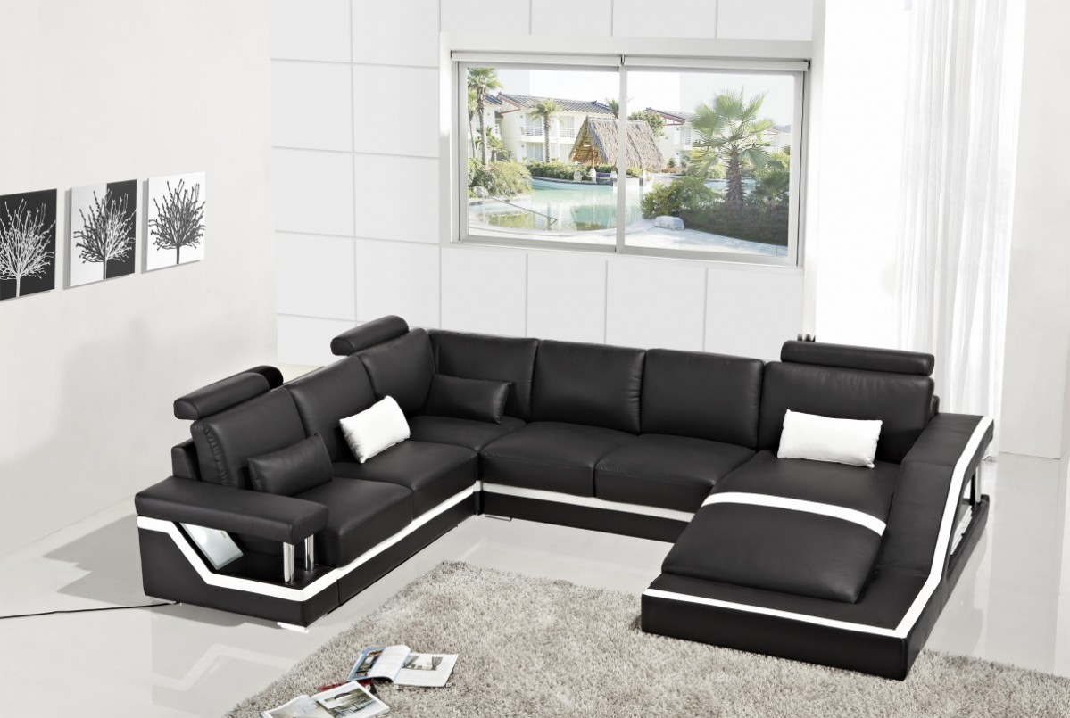 Divani casa t271 modern bonded leather sectional sofa for Living room 2 sofas