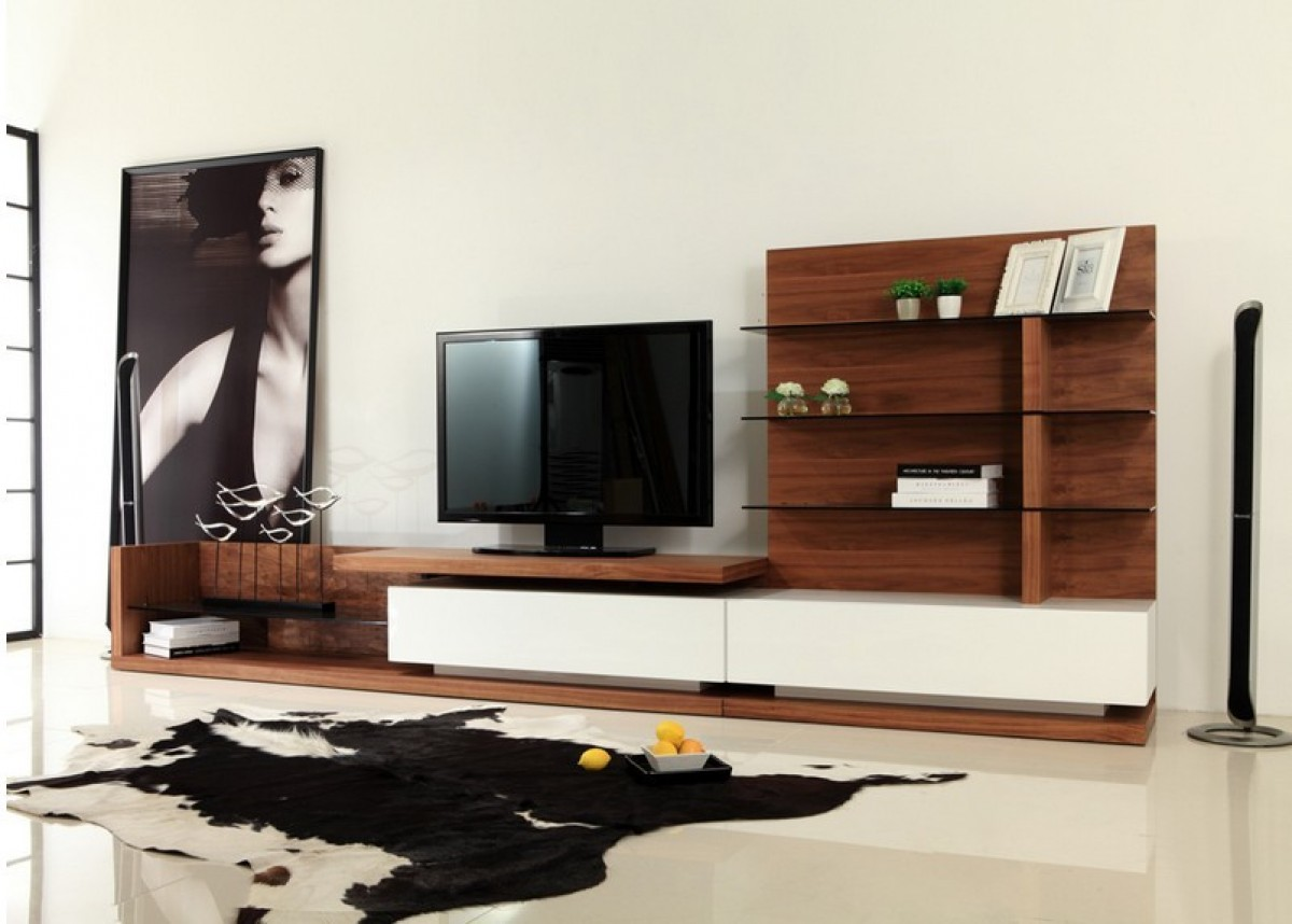 Modrest Jefferson Modern Walnut And White High Gloss Tv Unit Entertainment Centers Living Room