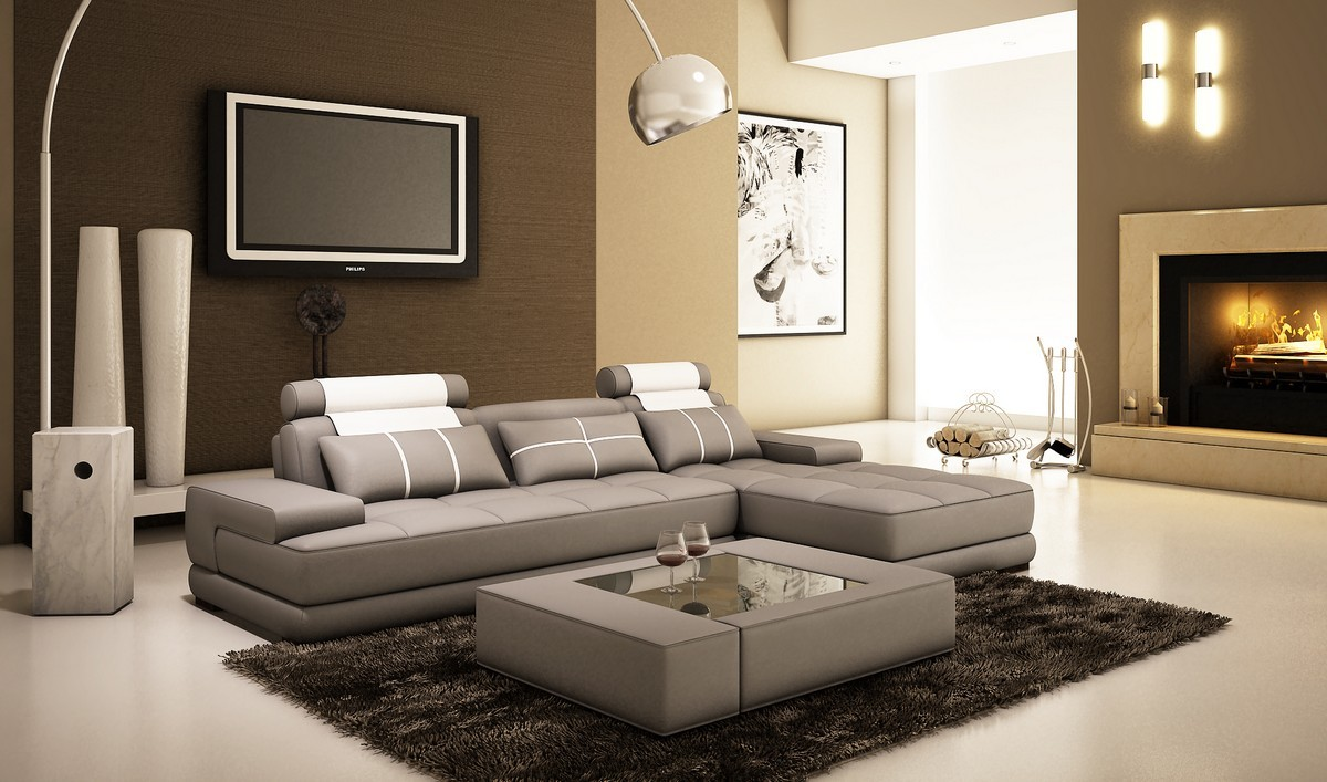 Picture of: Divani Casa 5005a Mini Modern Grey And White Bonded Leather Sectional Sofa W Coffee Table Special Order Cat B