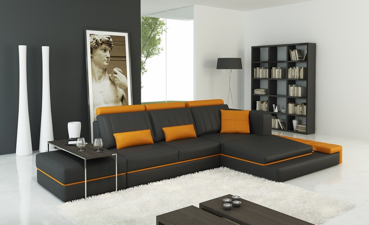 Divani Casa 5029b Modern Dark Grey And Orange Bonded
